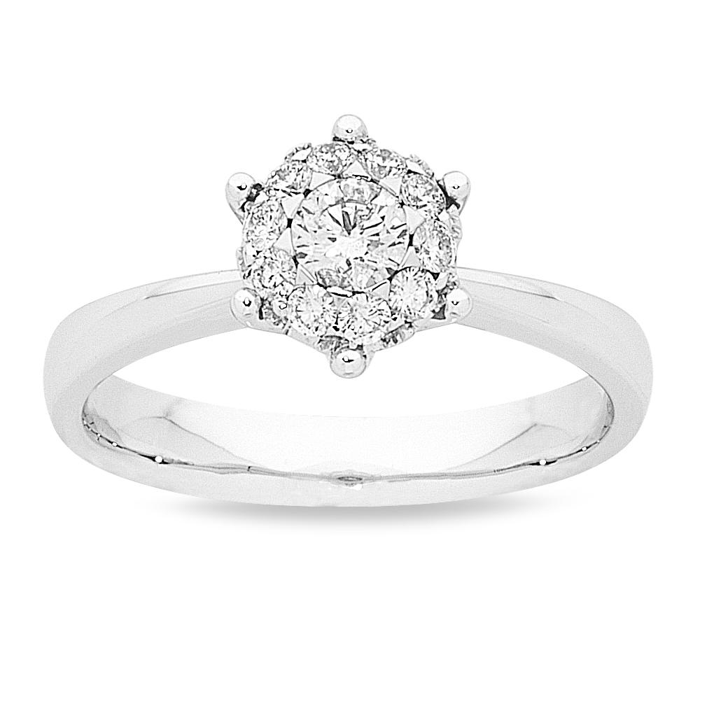 Star Brilliant Ring with 1/2ct of Diamonds in 18ct White Gold Rings Bevilles