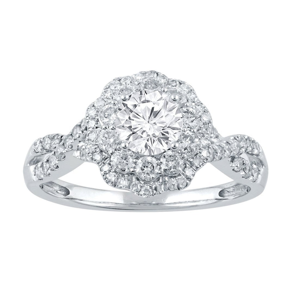 18ct White Gold 1.00ct Diamond Double Halo Engagement Ring