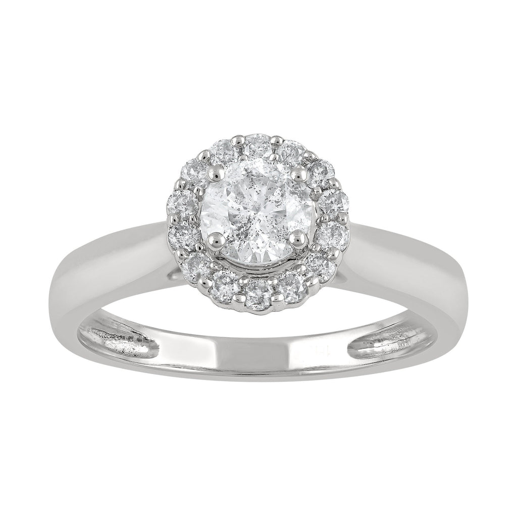 Brilliant Halo Ring with 0.68ct of Diamonds in 18ct White Gold