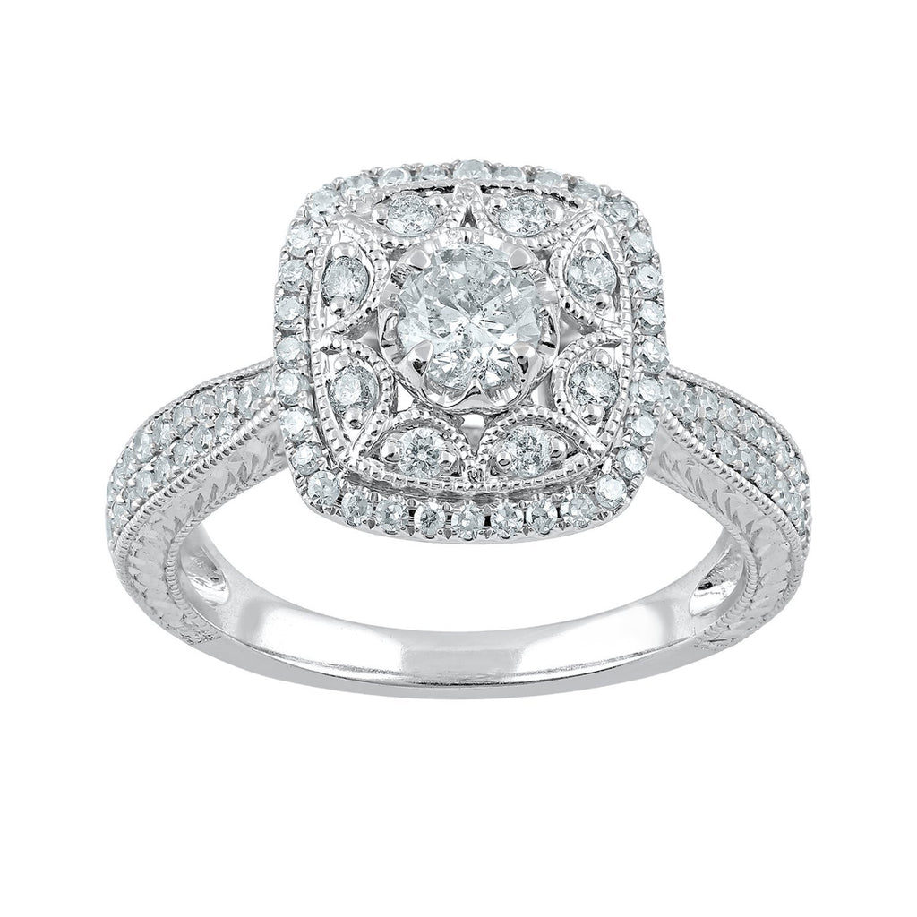 Brilliant Square Ring with 0.60ct of Diamonds in 18ct White Gold Rings Bevilles