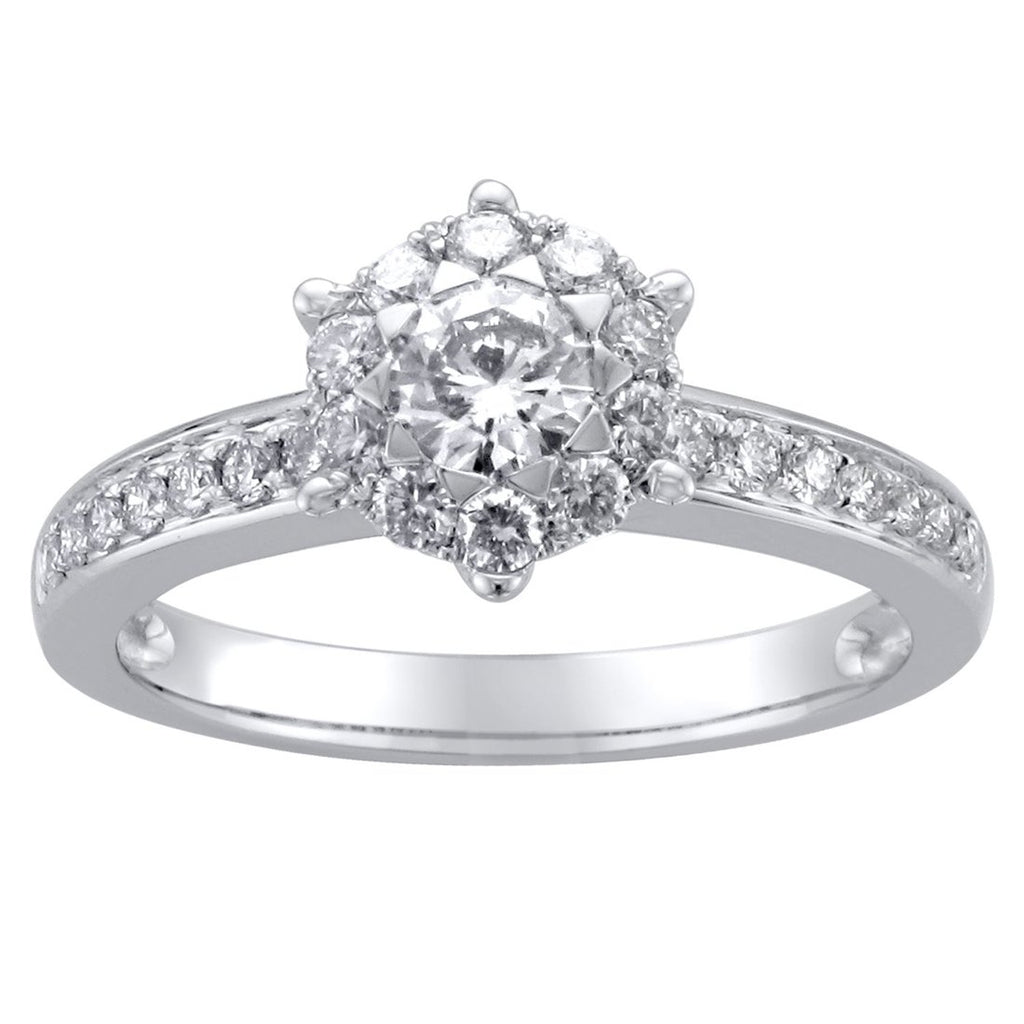 Brilliant Surround Ring with 3/4ct of Diamonds in 18ct White Gold Rings Bevilles