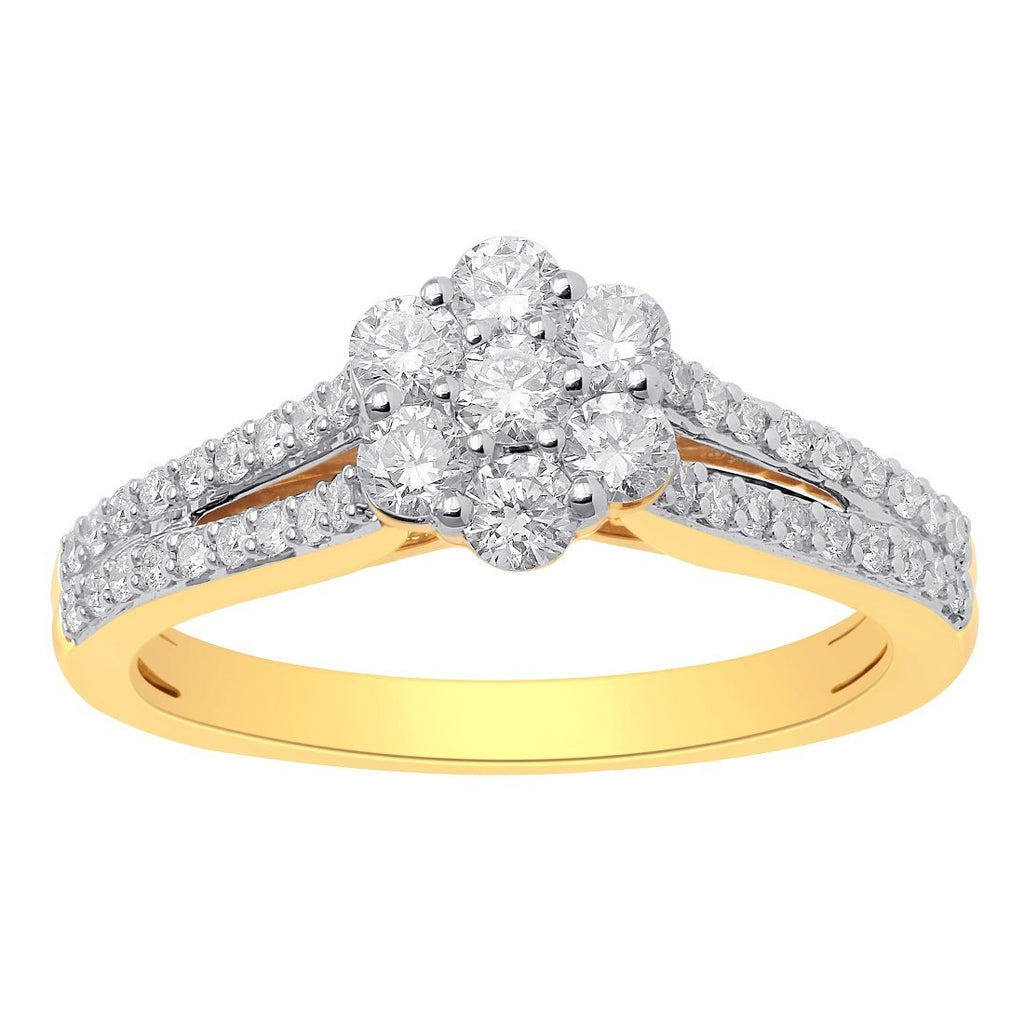 18ct Yellow Gold 0.75ct Diamond Flower Ring