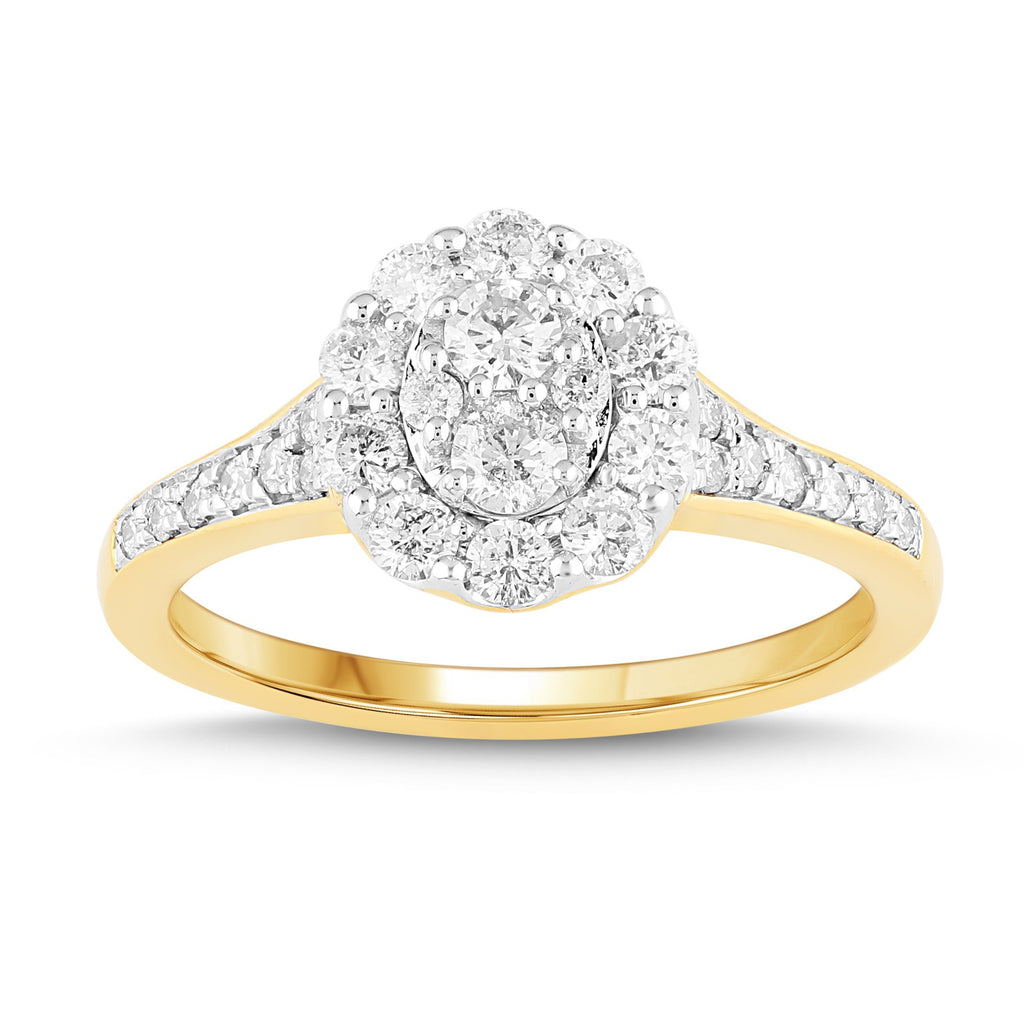 Brilliant Fancy Halo Ring with 0.85ct of Diamonds in 18ct Yellow Gold