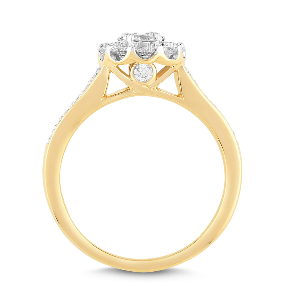 Brilliant Fancy Halo Ring with 0.85ct of Diamonds in 18ct Yellow Gold Rings Bevilles