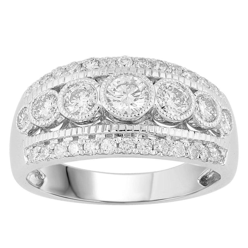 18ct White Gold Bezel Ring with 1.00ct of Diamonds Rings Bevilles