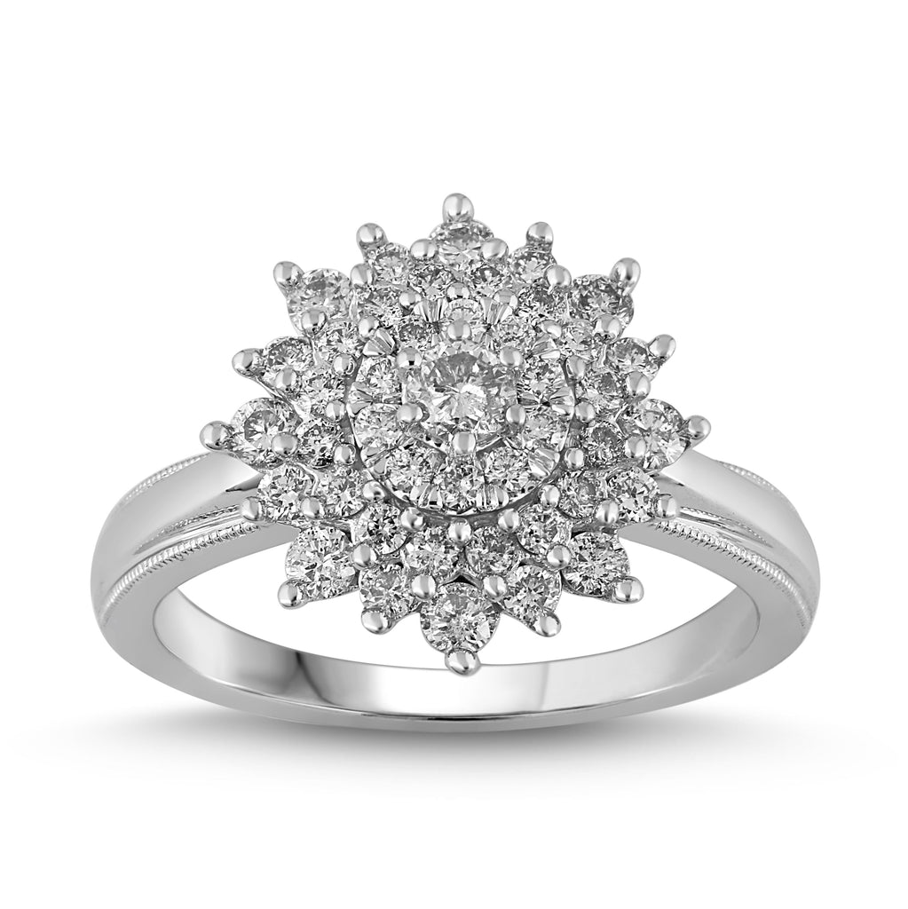 Brilliant Solitaire Ring with Surround with 0.75ct of Diamonds in 18ct White Gold