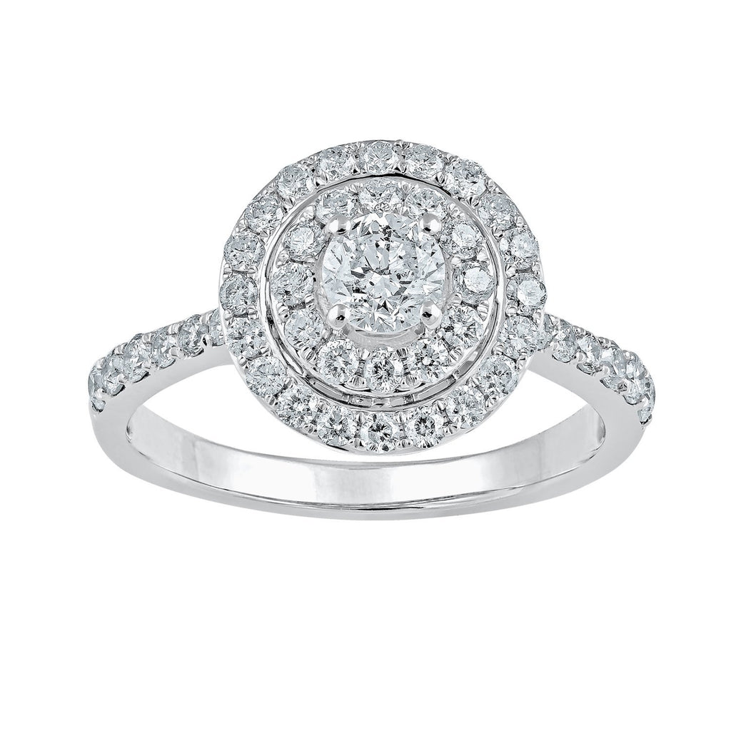18ct White Gold Halo Ring with 1.00ct of Diamonds Rings Bevilles