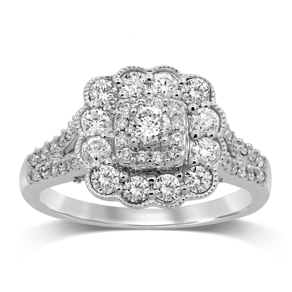 Brilliant Halo Milgrain Set Ring with 1.00ct of Diamonds in 18ct White Gold Rings Bevilles