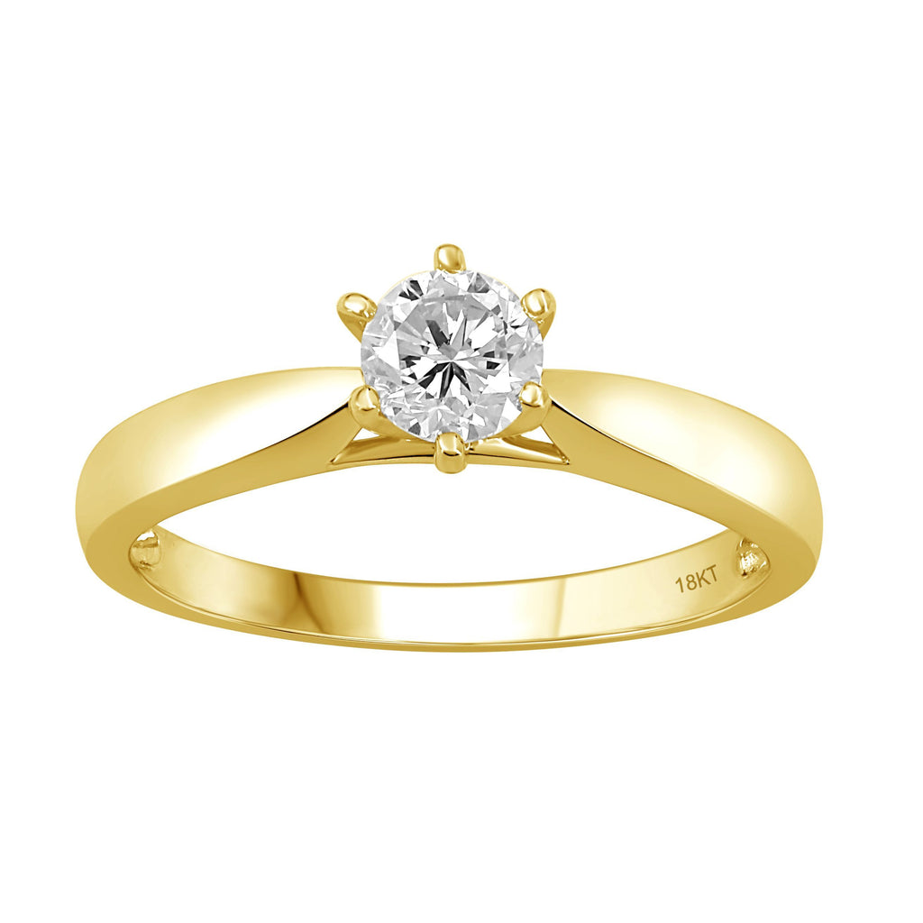 1/2ct Diamond Solitaire Taper Ring in 18ct Yellow Gold Rings Bevilles