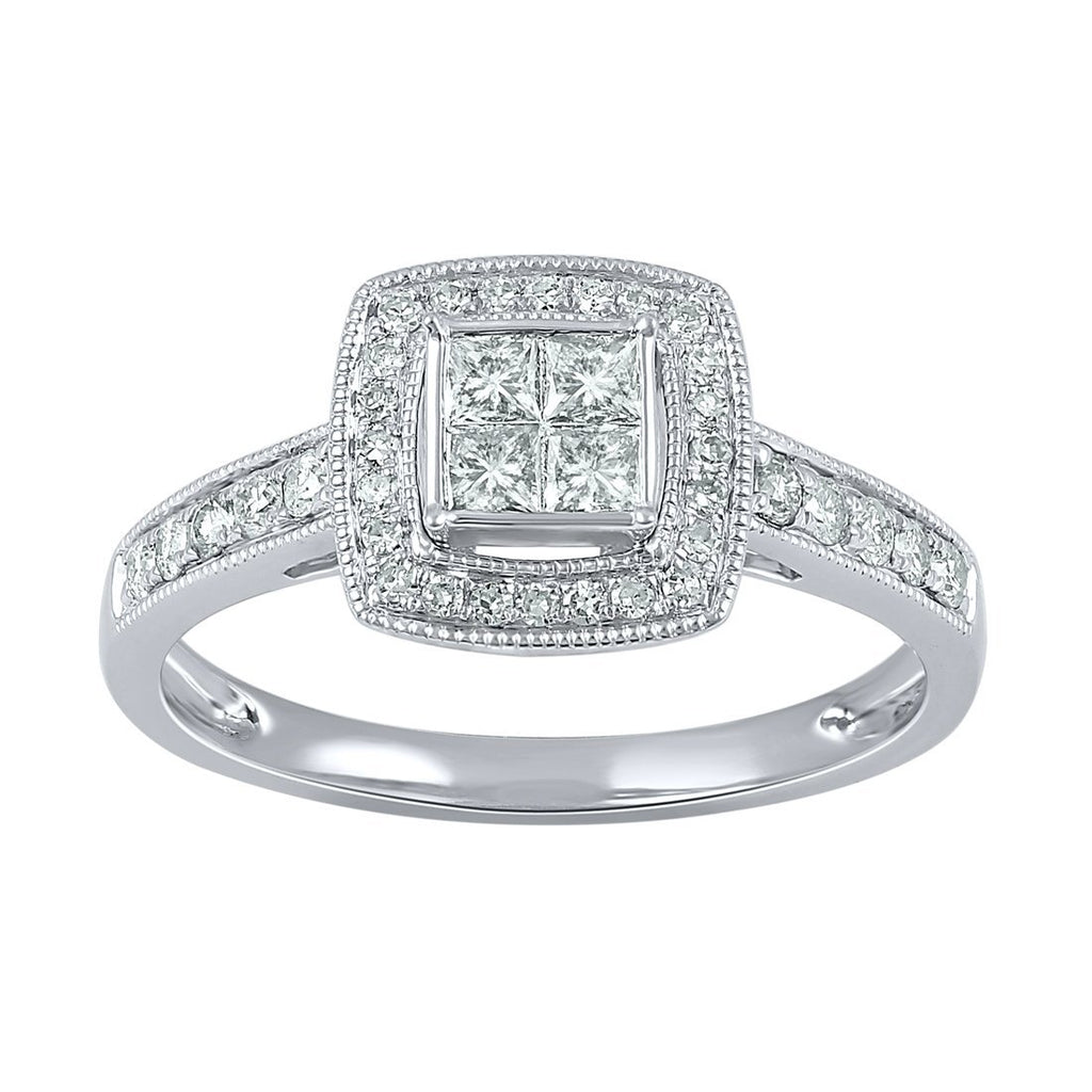 Invisible Princess Ring with 1/2ct of Diamonds in 18ct White Gold