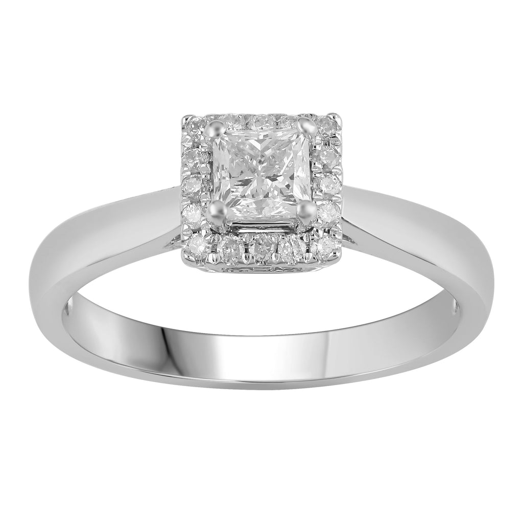 Princess Cut Ring with 1/2ct of Diamond in 18ct White Gold Rings Bevilles