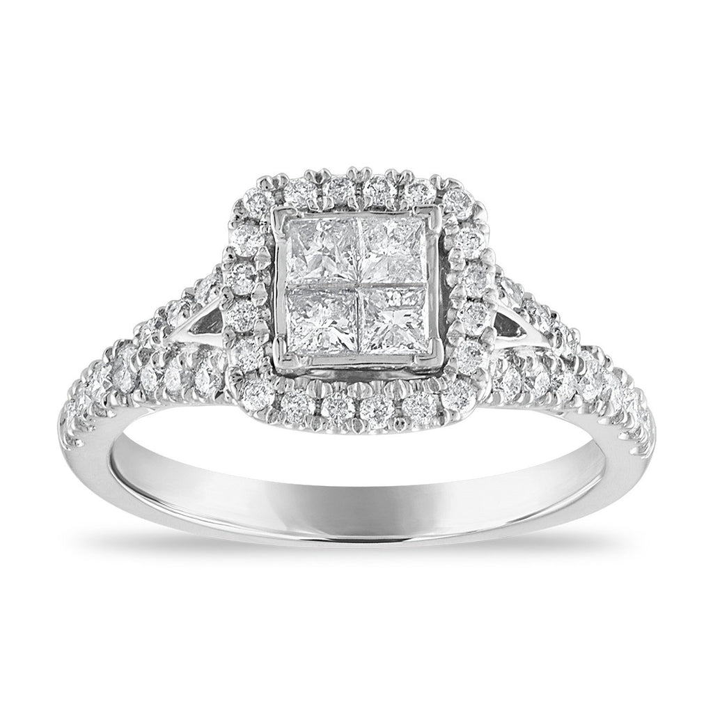 Invisible Princess Halo Ring with 0.85ct of Diamonds in 14ct White Gold Rings Bevilles