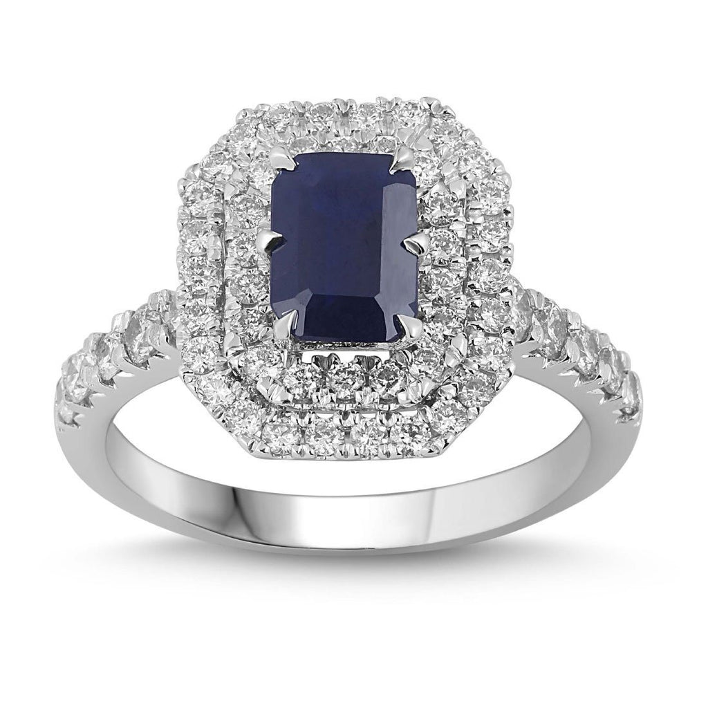 18ct White Gold Sapphire Ring with 0.80ct of Diamonds
