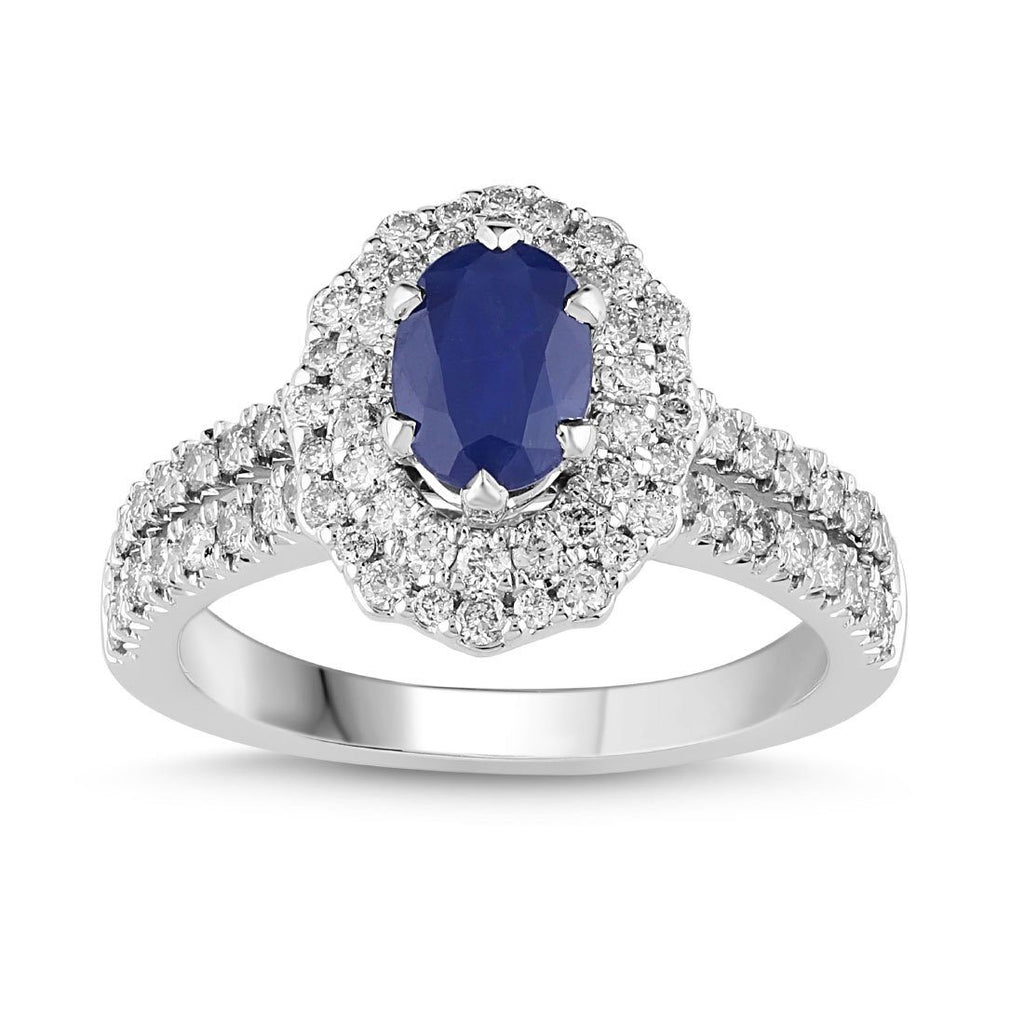 Sapphire Ring with 3/4ct of Diamonds in 18ct White Gold