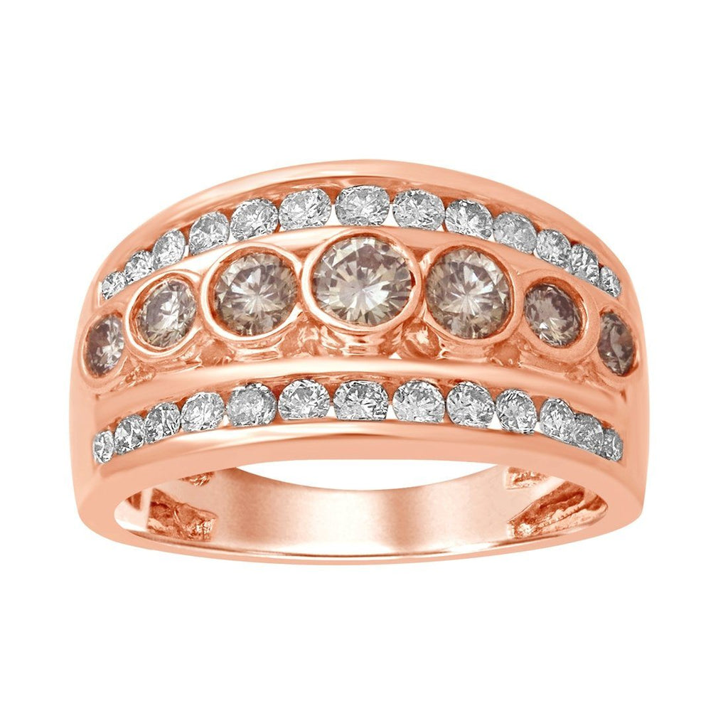 18ct Rose Gold 1.00ct 7 Cognac Diamonds Ring Rings Bevilles
