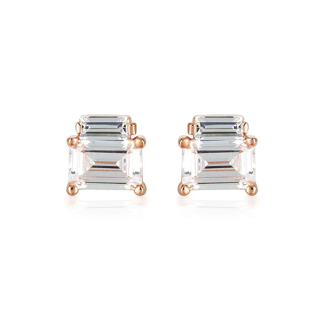 GEORGINI EMILIO ROSE GOLD DOUBLE BAGUETTE EARRINGS Bevilles Jewellers