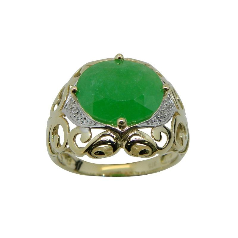 9ct Yellow Gold Oval Jade Diamond Set Ring