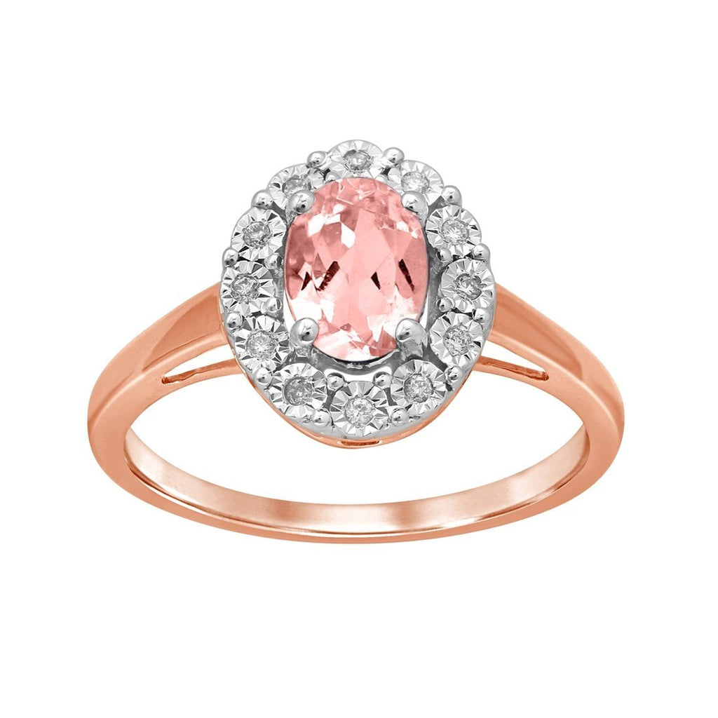 9ct Rose Gold Diamond Set Oval Morganite Ring Rings Bevilles