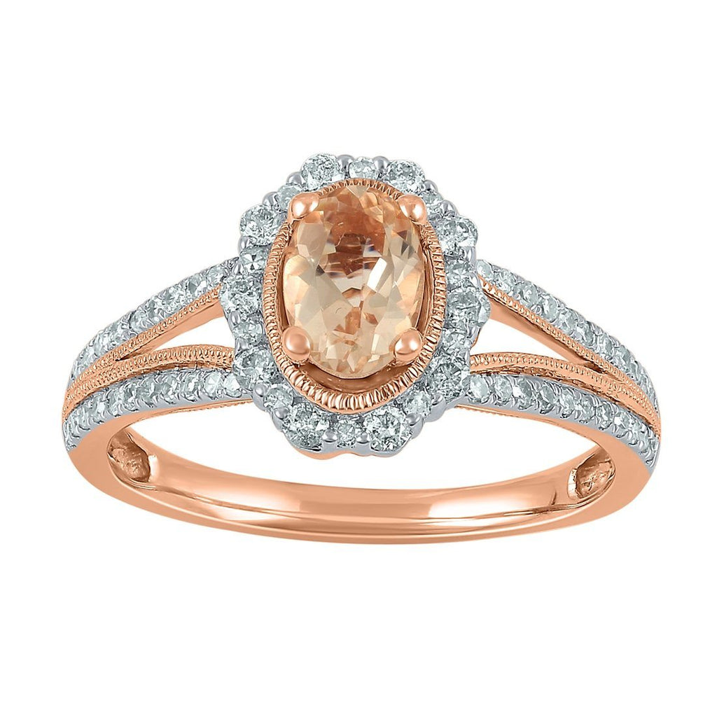 9ct Rose Gold Oval Morganite Ring with 0.42ct of Diamonds Rings Bevilles