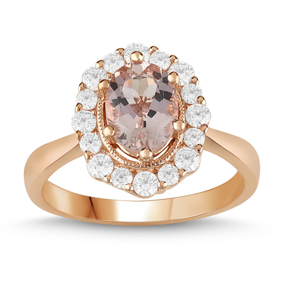 Morganite Ring with 1/2ct of Diamonds in 9ct Rose Gold Rings Bevilles