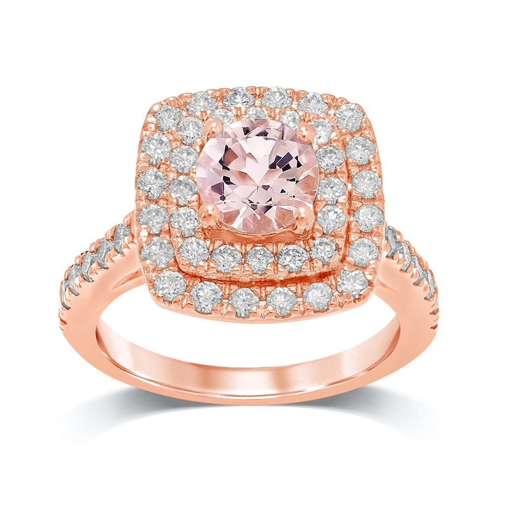 9ct Rose Gold Morganite Ring with 1.00ct of Diamonds