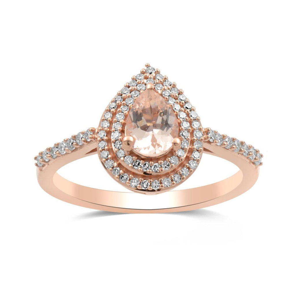 9ct Rose Gold Morganite and Diamond Ring Rings Bevilles