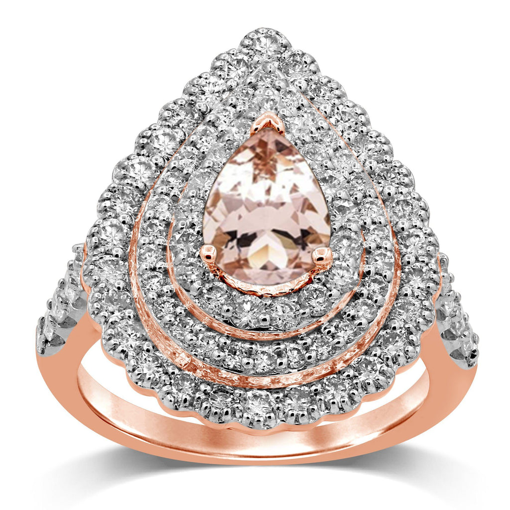 Brilliant Claw Double Halo Scallop Ring with 1.40ct Pear Morganite and Diamond in 9ct Rose Gold