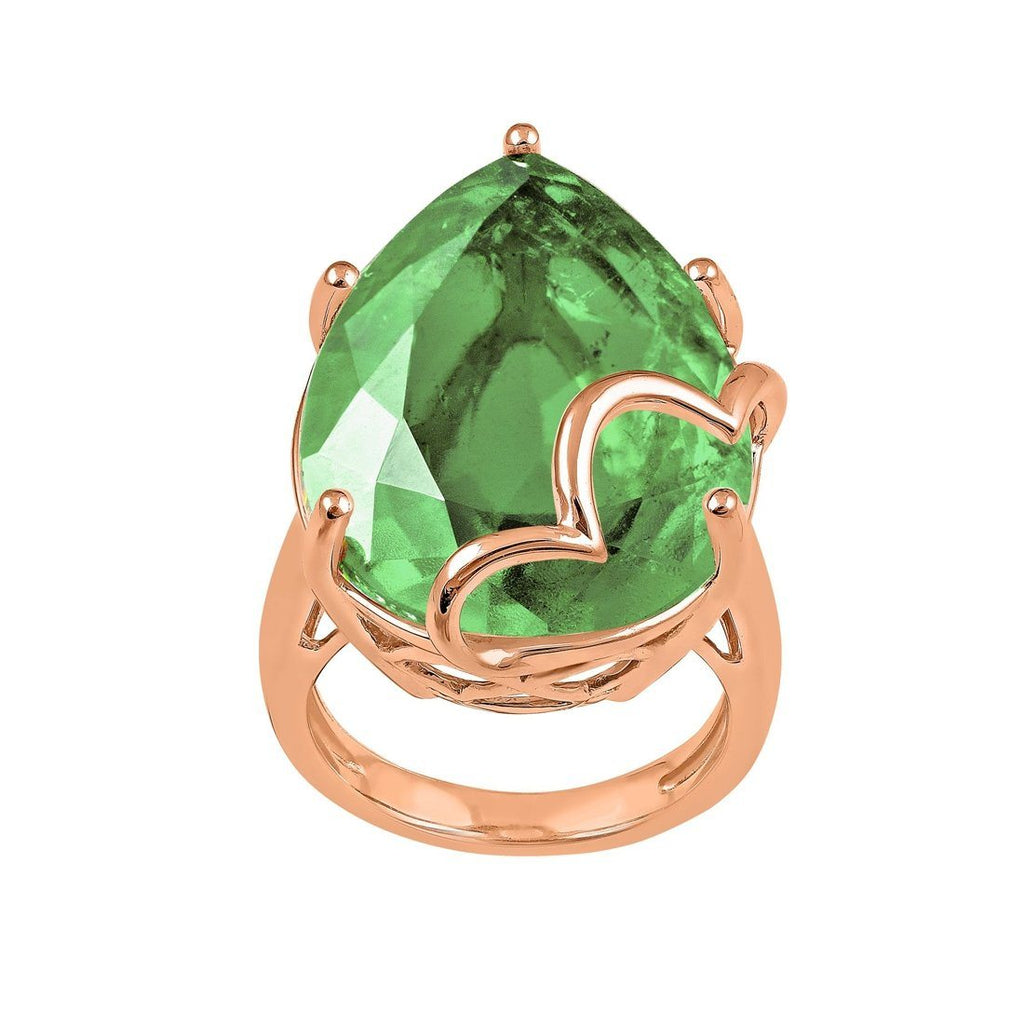 9ct Rose Gold Green Amethyst Ring