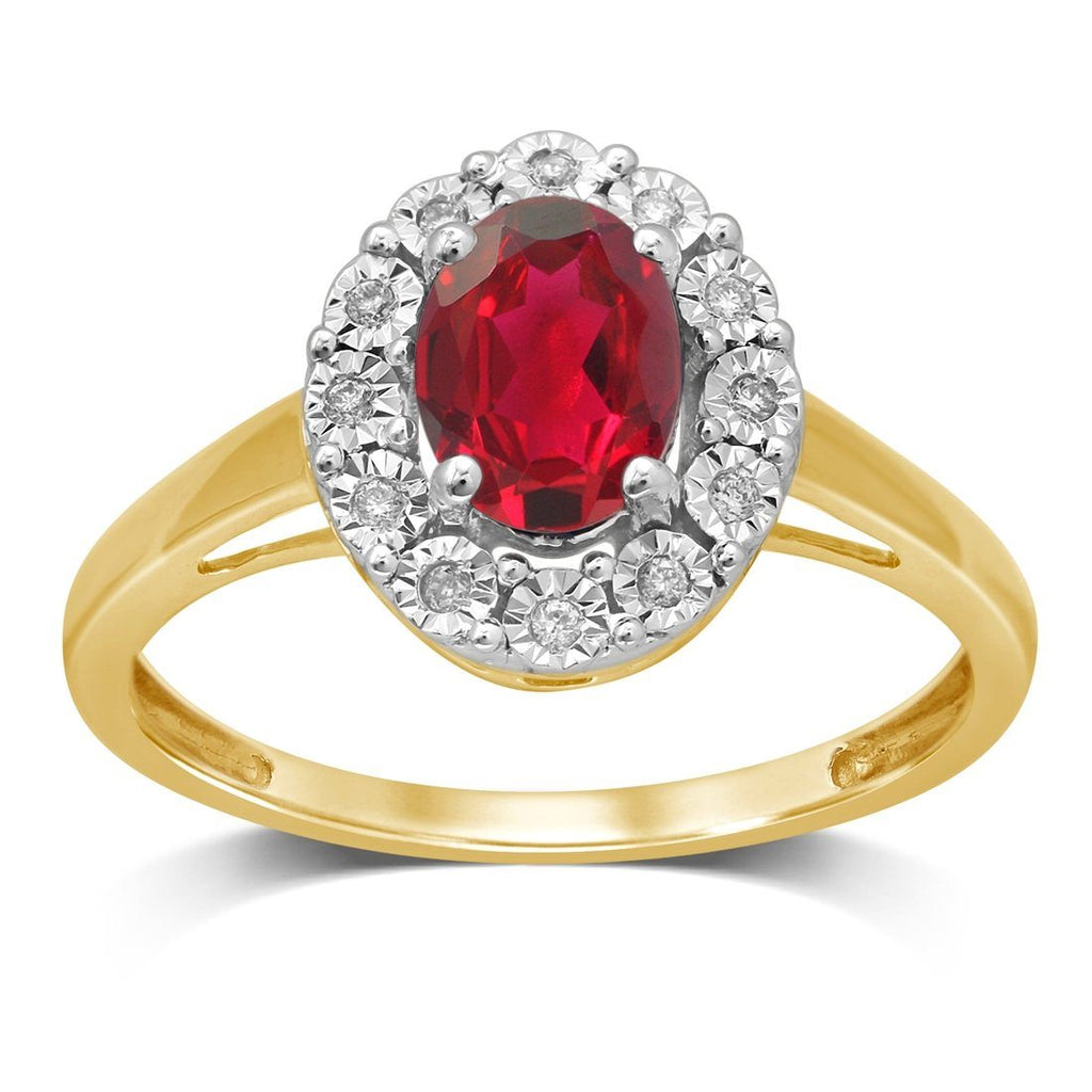 9ct Yellow Gold Created Ruby & Diamond Ring Rings Bevilles