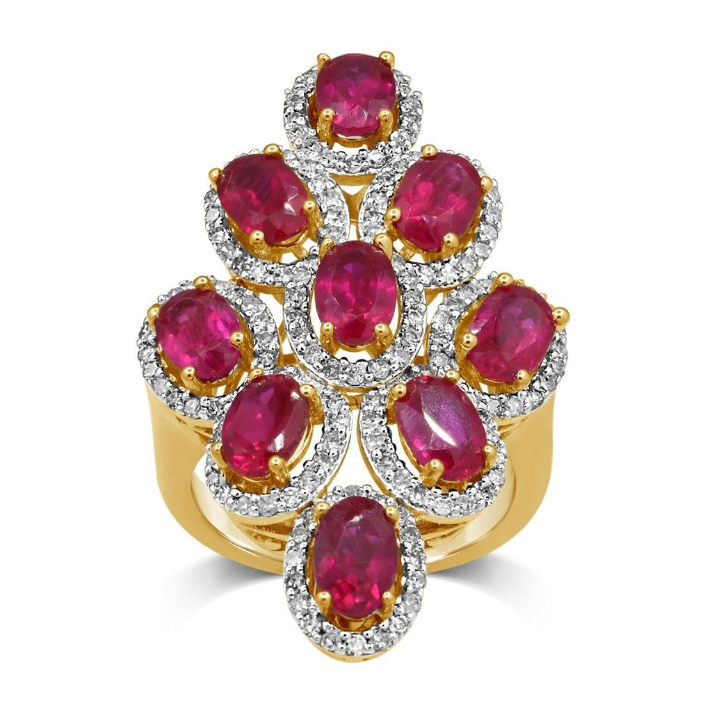 9ct Yellow Gold Created Ruby & 0.85ct Diamond Multi Oval Ring Rings Bevilles