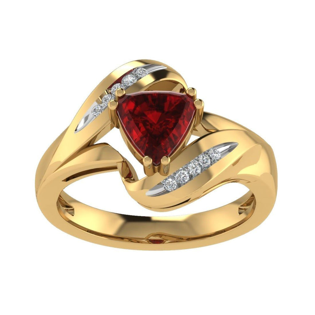 9ct Yellow Gold Created Ruby and Diamond Ring Rings Bevilles