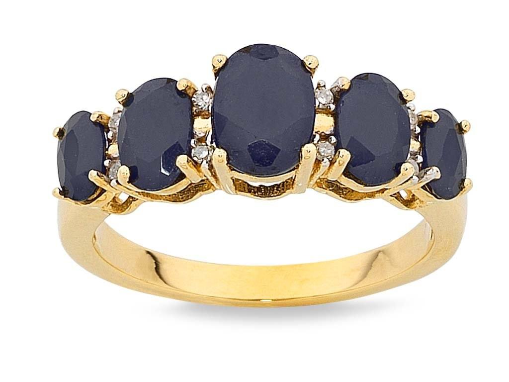 9ct Yellow Gold Diamond Set Sapphire Ring Rings Bevilles