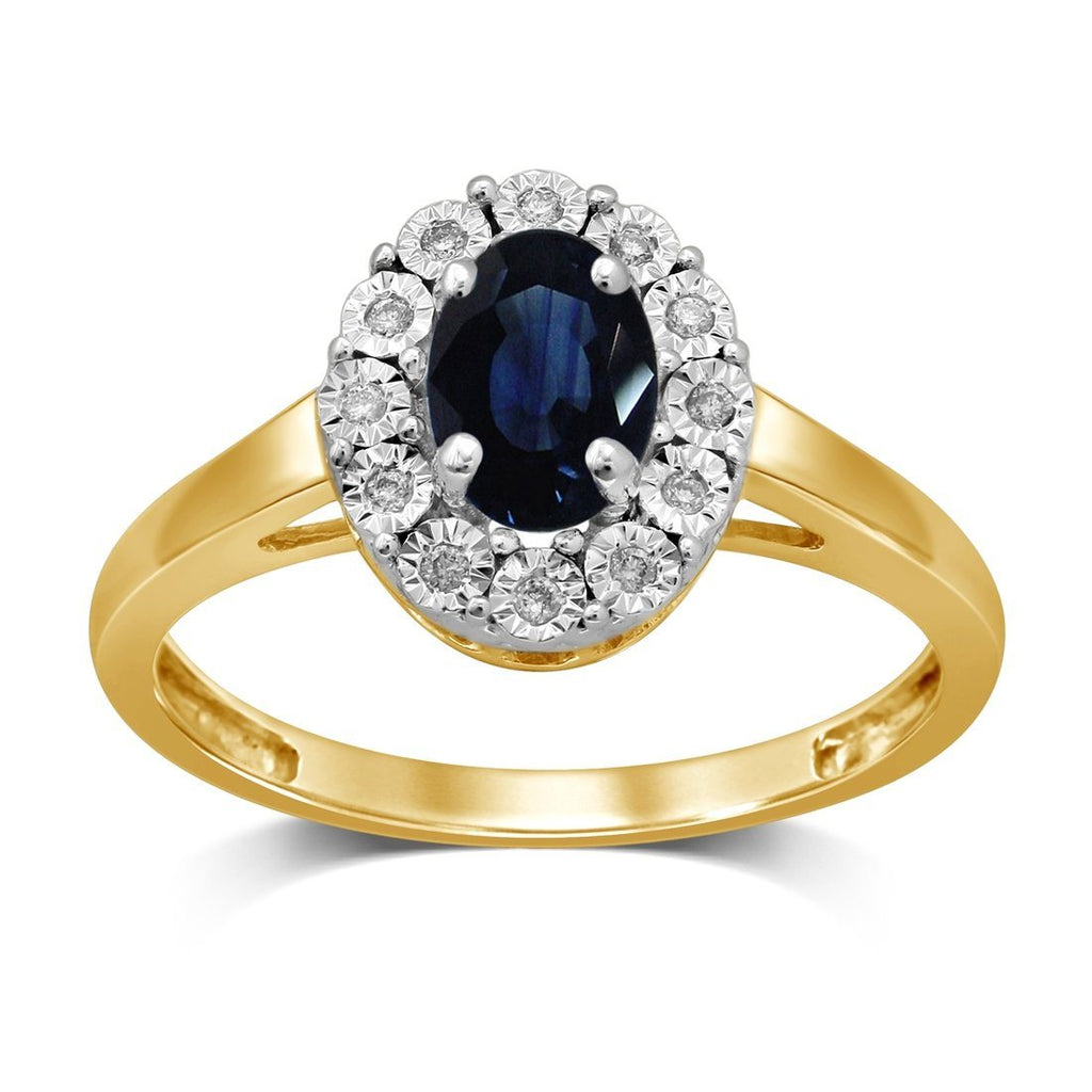 9ct Yellow Gold Diamond Set Sapphire Ring