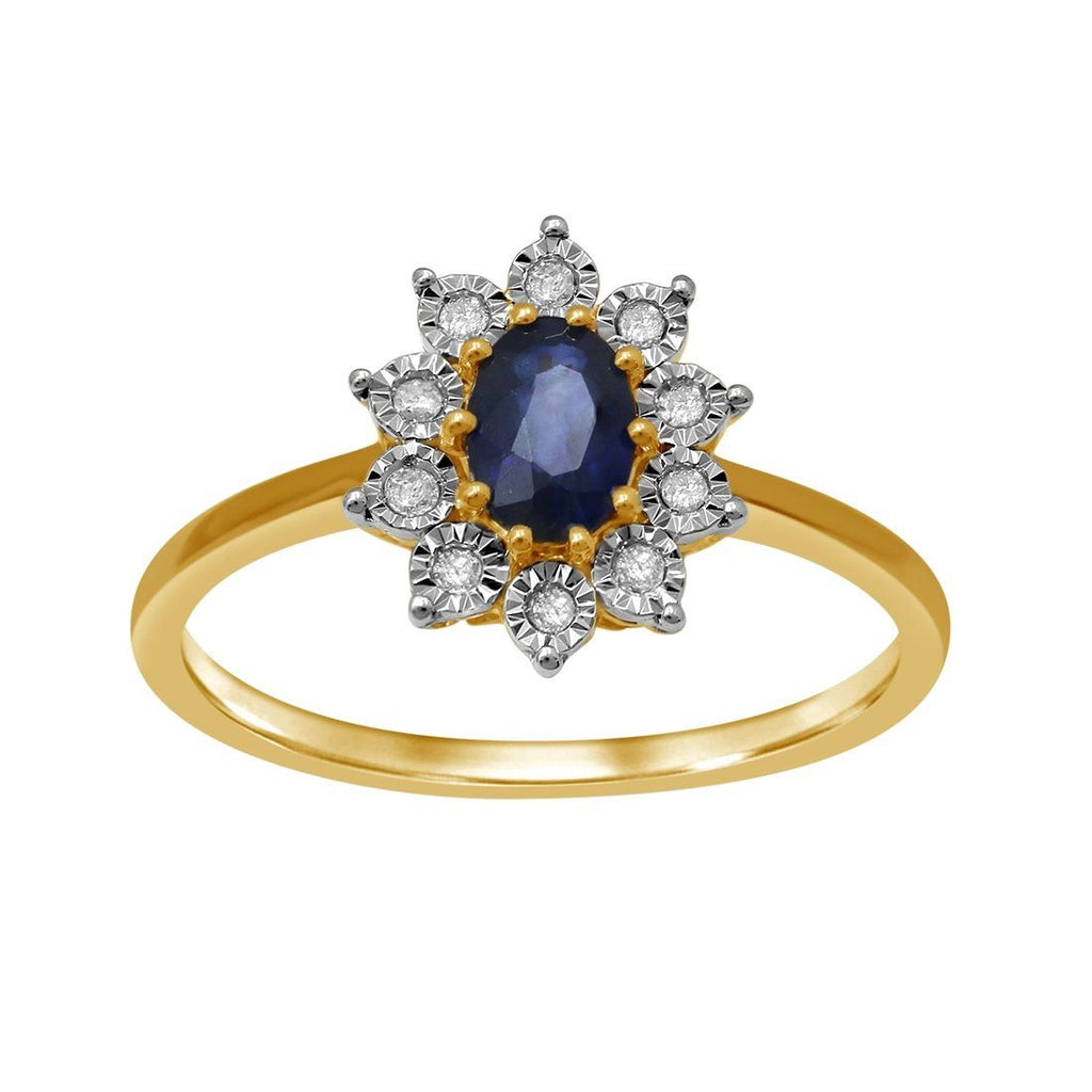 9ct Yellow Gold Diamond and Sapphire Ring