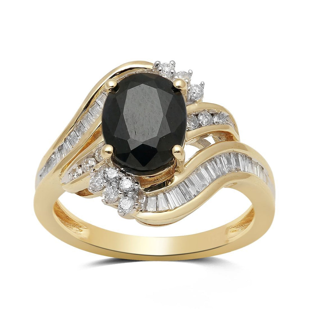 Black Sapphire Ring with 1/2ct of Diamonds in 9ct Yellow Gold Rings Bevilles