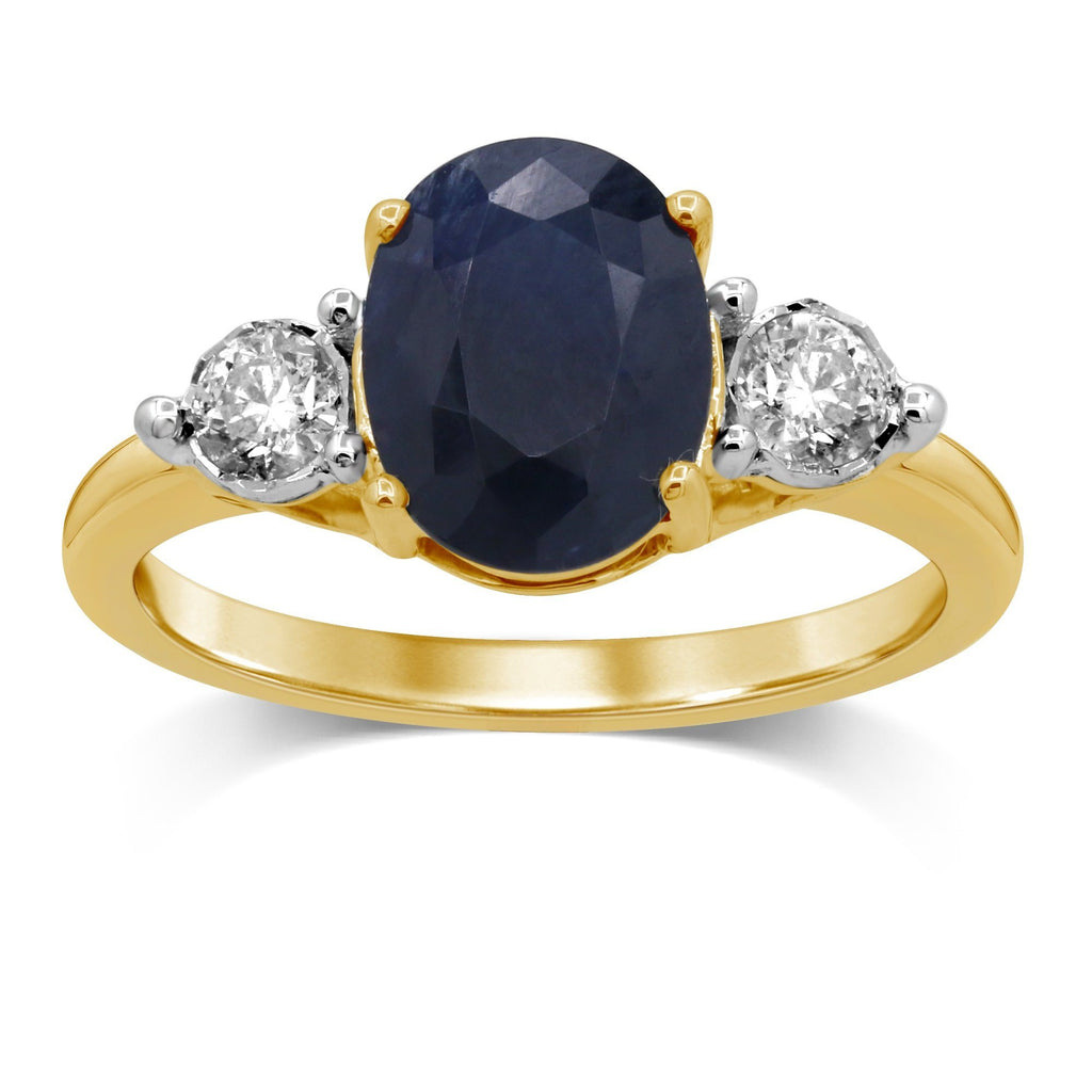 Oval Sapphire Ring with 1/4ct of Diamonds in 9ct Yellow Gold Rings Bevilles