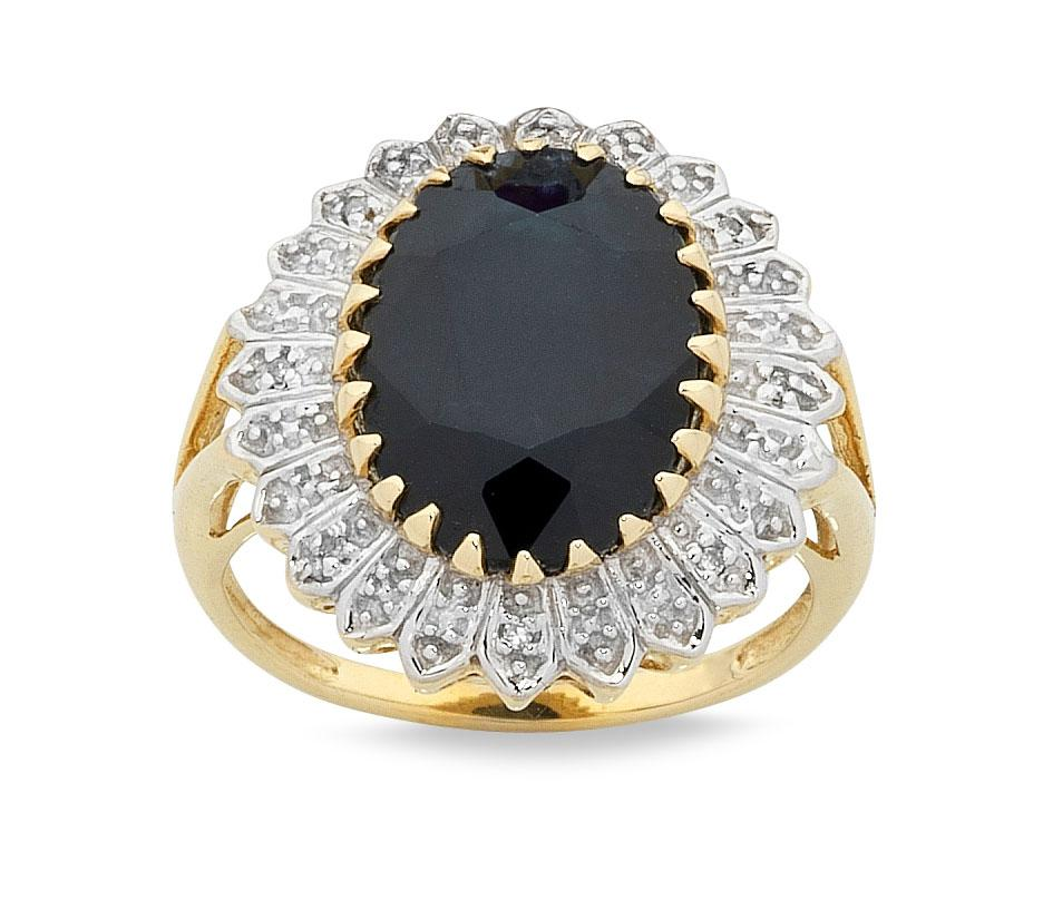 Sapphire Ring with Diamonds in 9ct Yellow Gold