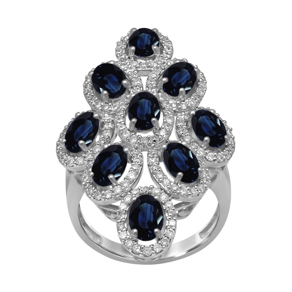 Diamond & Sapphire Ring with 0.85ct of Diamonds in 9ct White Gold