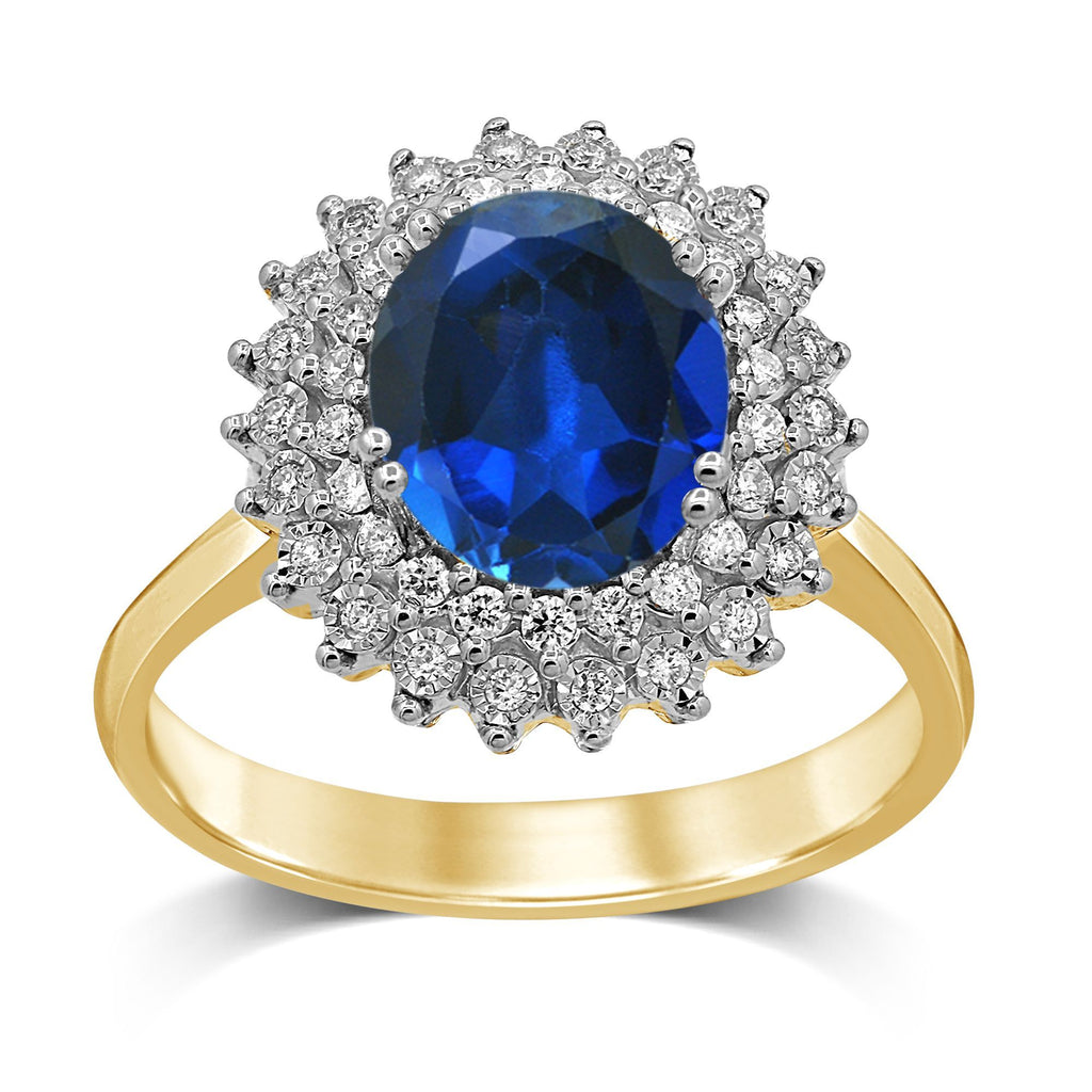 Sapphire Ring with Diamonds in 9ct Yellow Gold Rings Bevilles