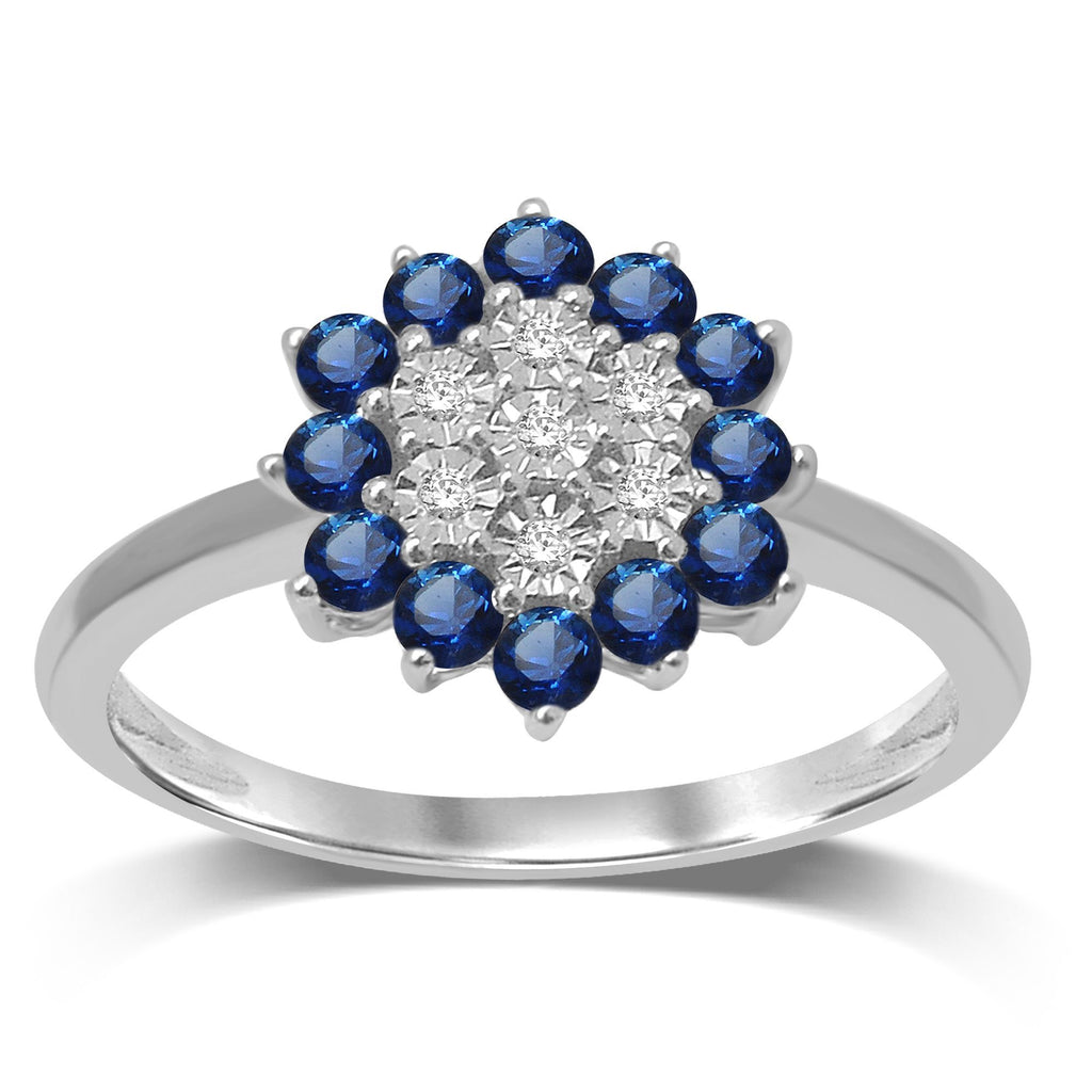 Diamond Set Sapphire Ring in 9ct White Gold Rings Bevilles