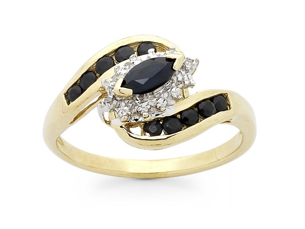 Marquise Shape Sapphire Ring with Diamonds in 9ct Yellow Gold Rings Bevilles