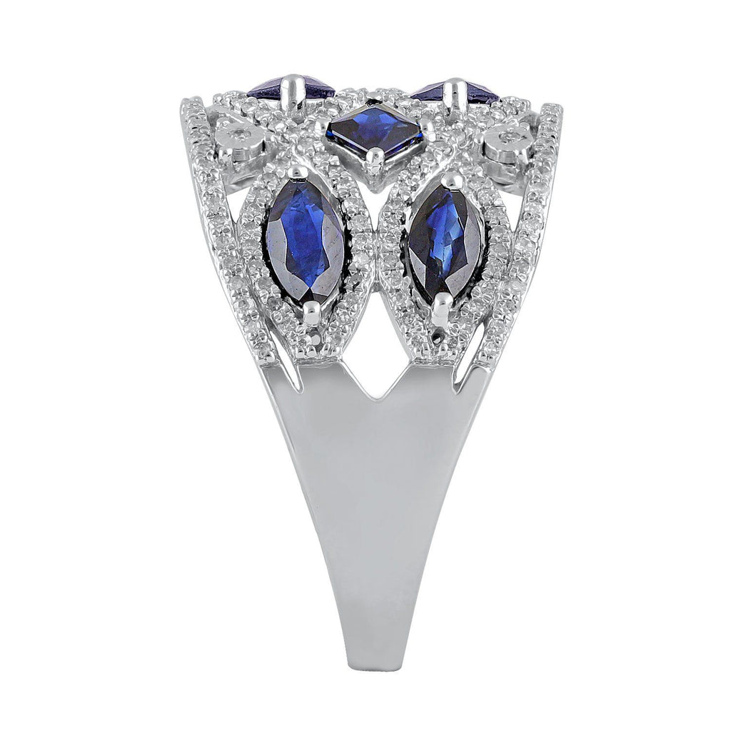 9ct White Gold Sapphire and Diamond Ring Rings Bevilles