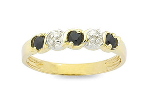 Sapphire & Diamond Claw Set Ring in 9ct Yellow Gold