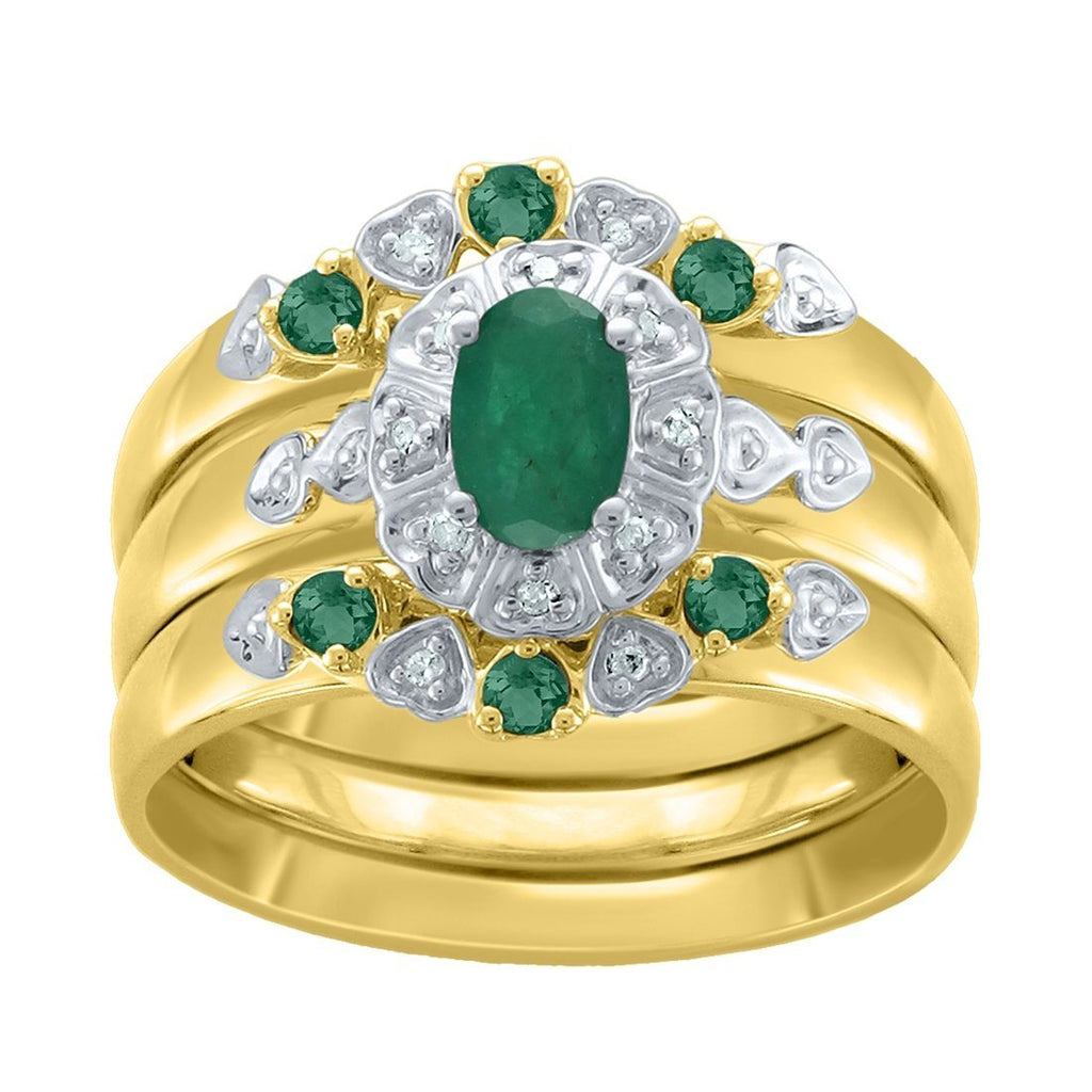 Diamond and Emerald Three Ring Set in 9ct Yellow Gold Rings Bevilles