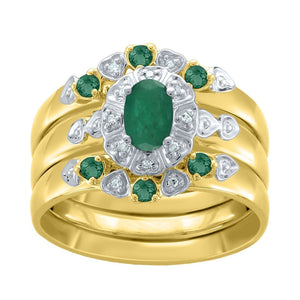 Diamond and Emerald Three Ring Set in 9ct Yellow Gold