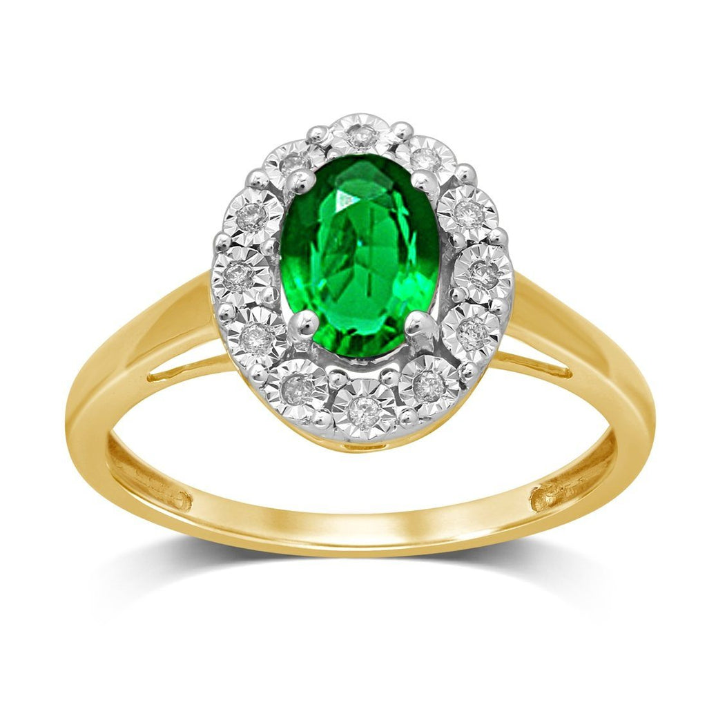9ct Yellow Gold Created Emerald & Diamond Ring Rings Bevilles