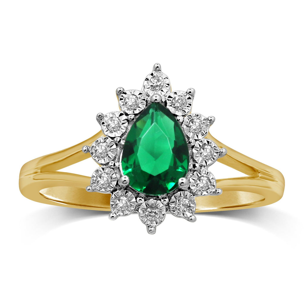 Emerald Pear with Brilliant Miracle Surround Cluster Ring in 9ct Yellow Gold