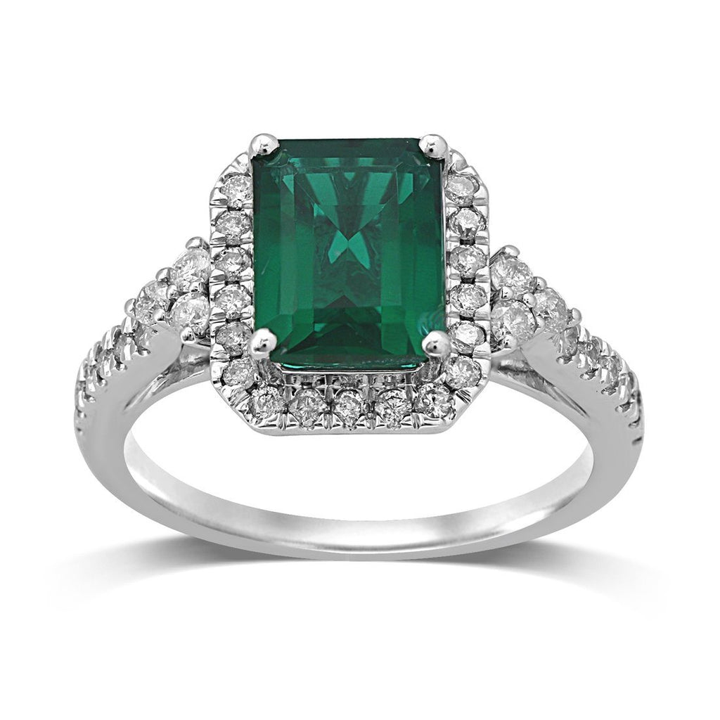 9ct White Gold 0.50ct Diamond & Created Emerald Ring Rings Bevilles