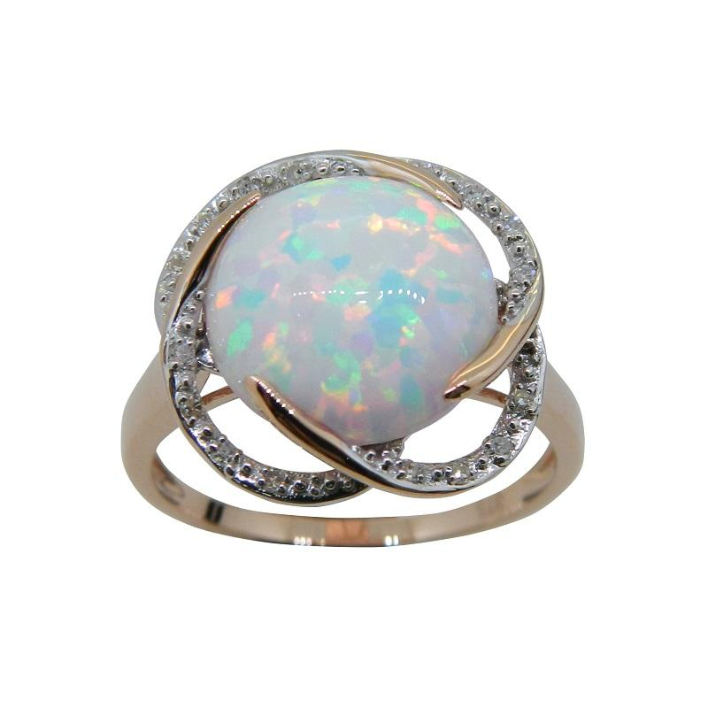 Created Opal Diamond Set Ring in 9ct Yellow Gold Rings Bevilles