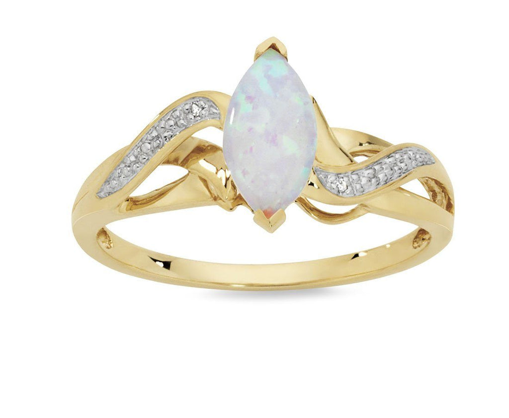 Marquise Shape Created Opal Ring with Diamonds in 9ct Yellow Gold Rings Bevilles